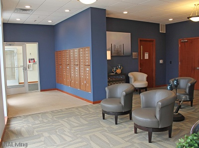 Watermark Lofts - Lobby Area with Mailboxes and Seating