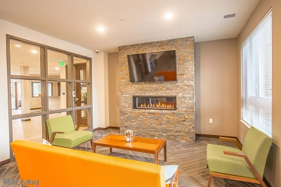 Veritas Village - Clubroom with Fireplace
